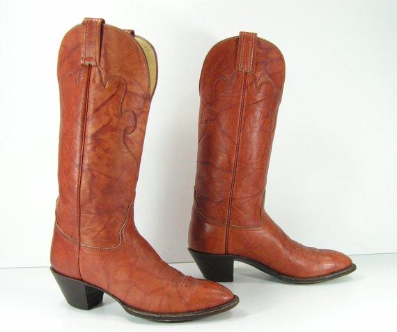 6990712e5b400 cowboy boots womens 6.5 B brown western cowgirl hondo vintage ...
