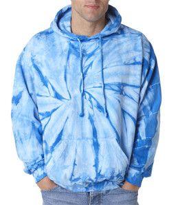tie dye Adult Tie-Dyed Spider Blended Hoodie 8777 Baby Blue