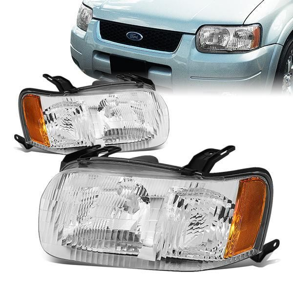 D Motoring 01 04 Ford Escape Headlights Chrome Housing Clear Lens