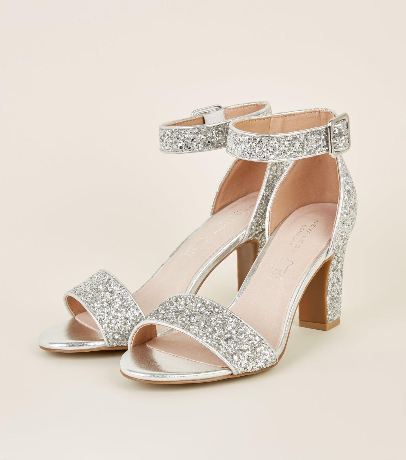 d2dbdd448190 Comfort Flex Silver Glittery Block Heels