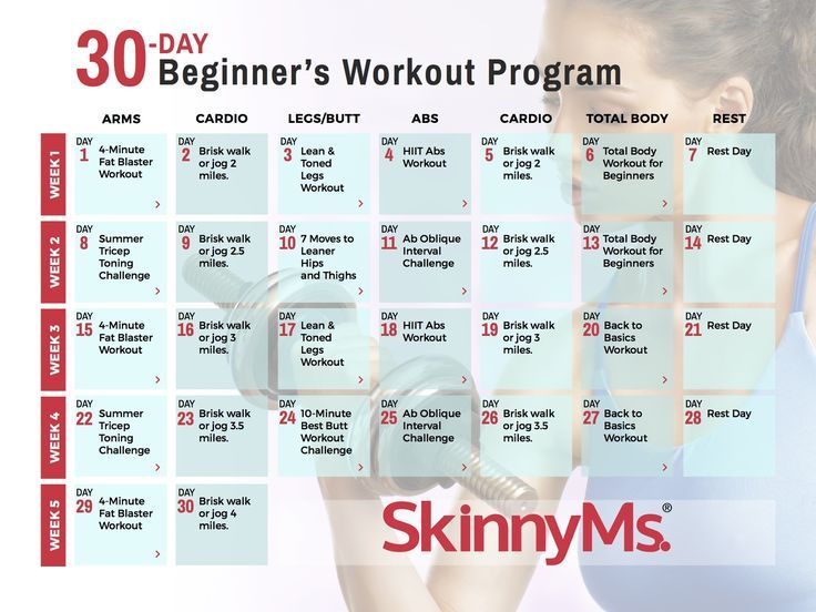 Download Our FREE 30 Day Beginners Workout Calendar And Get Started Today Skinnyms Beginnerworkouts Program