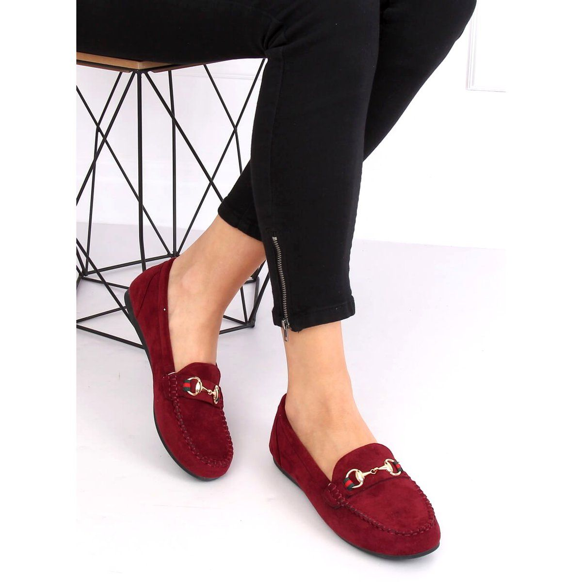 Mokasyny Damskie Bordowe Ch 1m16 Wine Red Czerwone Shoes Mule Shoe Slippers