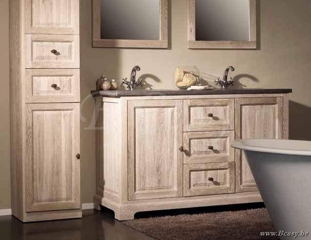 Lee lewis bath kast eik wit finish rechts 50x200h landelijke badkamer landelijk badkamermeubel - Console ingang kast lade ...