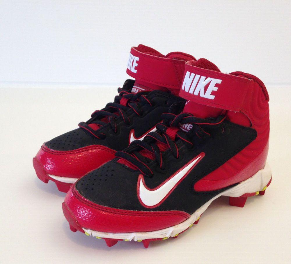 NIKE Huarache Baseball Cleats Red Black