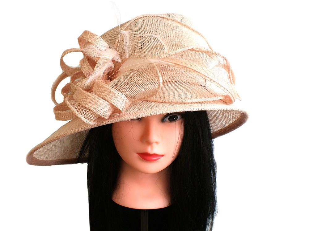 17e0dfd9cb414   SALE   NEW LADIES PINK MIST COLOUR FORMAL OCCASION SINAMAY WEDDING HAT  TAMSIN