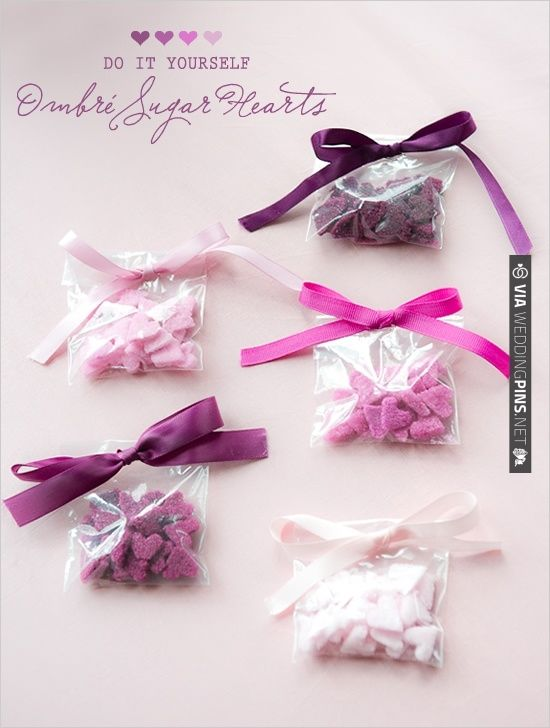 DIY Ombre Sugar Hearts | CHECK OUT MORE IDEAS AT WEDDINGPINS.NET | #diyweddings