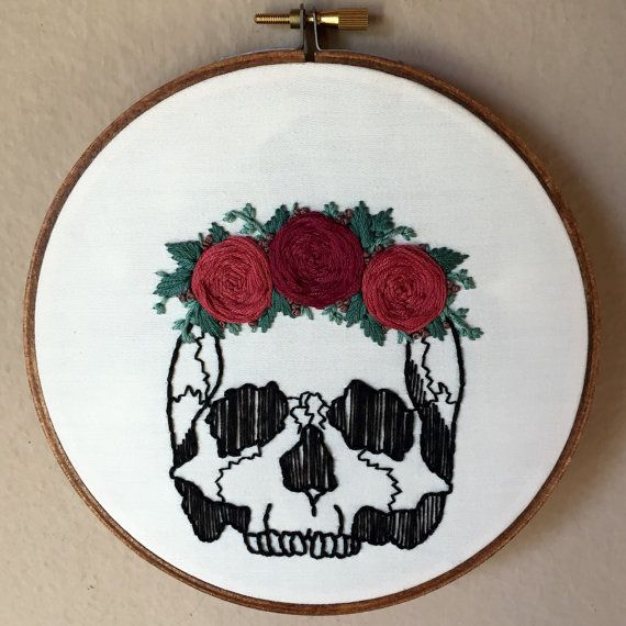 Human skull with rose flower crown hand embroidery hoop