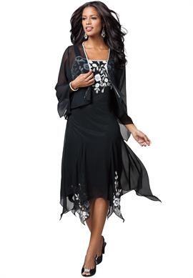 Beaded Hanky Hem Jacket Dress   Plus Size Special Occasion ...
