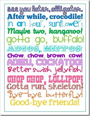 graphic relating to See You Later Alligator Poem Printable named View Yourself Later on, Alligator Printable Speculate Superb University