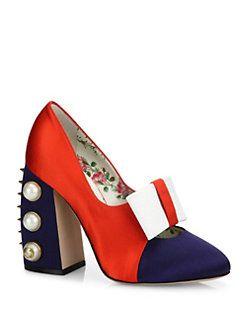 Gucci - Luna Studded Block Heel Colorblock Satin Pumps