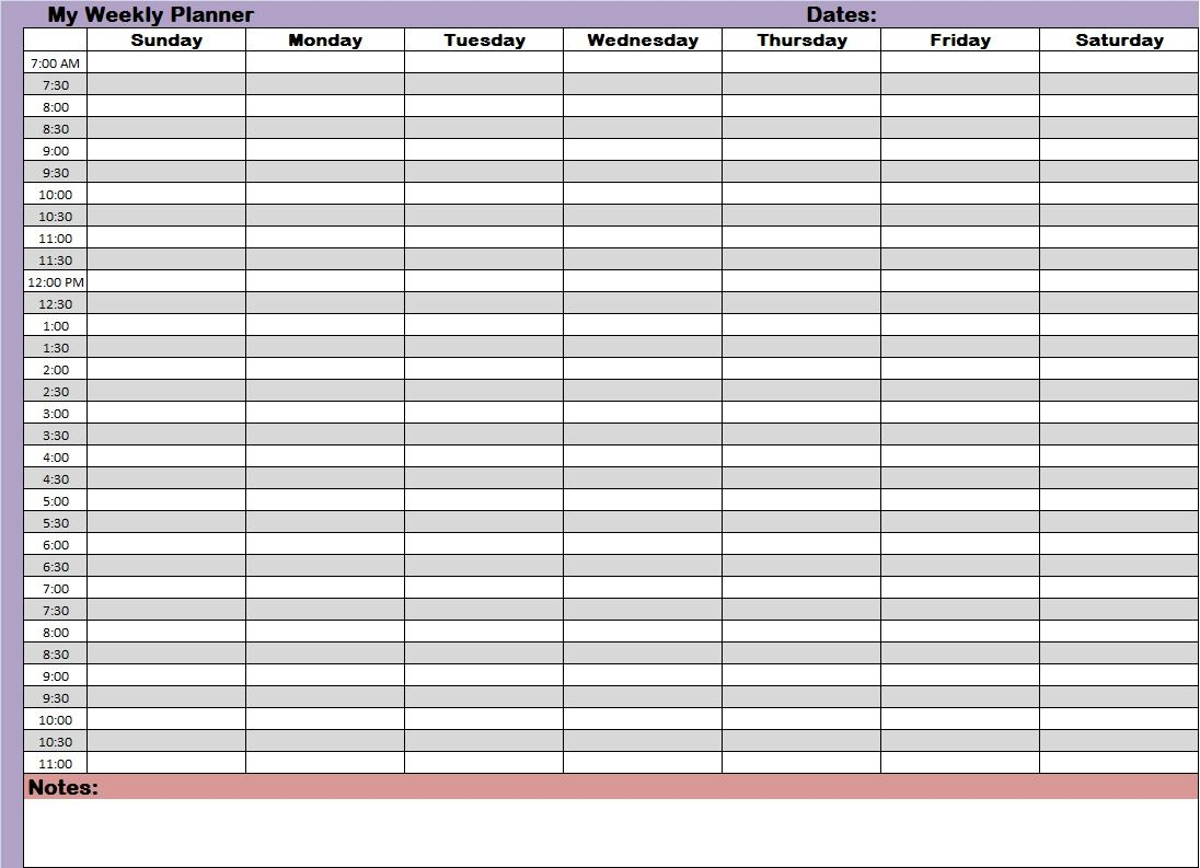 Free Printable Weekly Planner Half Hour Increments Schedule