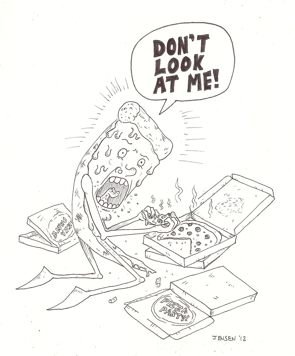 Pizza Eating Pizza Drawing By Ben Jensen Pizza Art