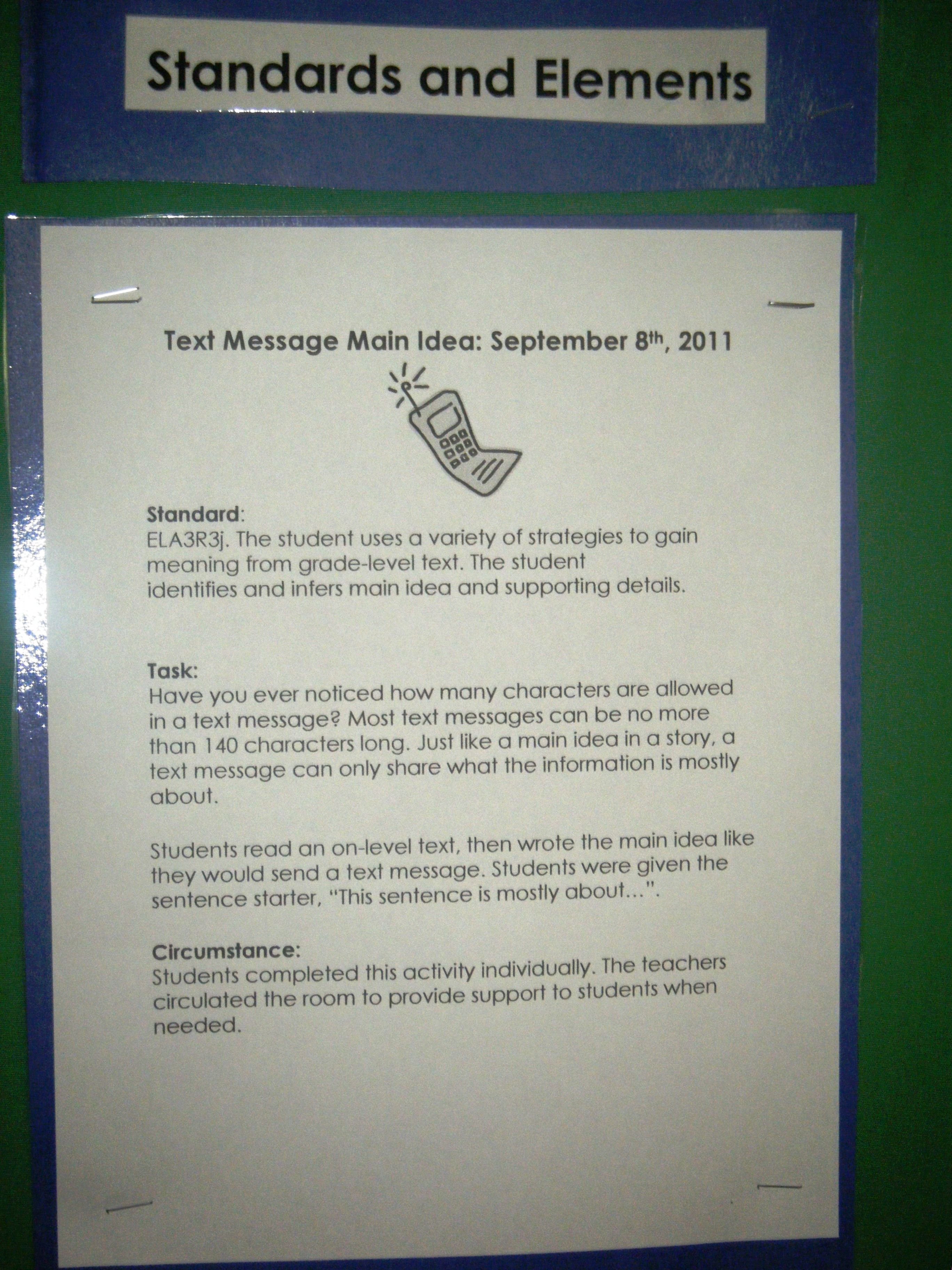 Instructions For The Text Message Main Idea Activity Speech And Language Main Idea Activities Reading Main Idea