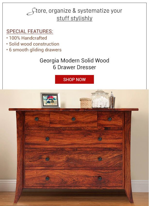 Elegantly Designed And Robustly Handcrafted, Our Georgia Modern Solid Wood  6 Drawer #Dresser Is A Perfect Companion For Your #bedroom Space.
