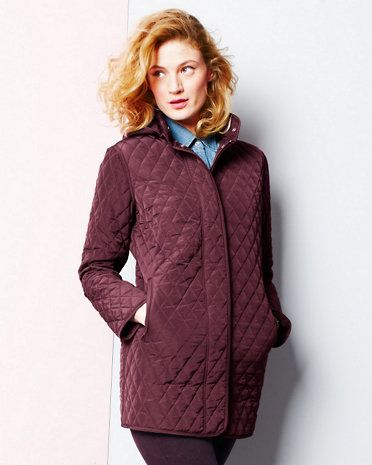 Garnet Hill, Quilted Car Coat in Cabernet, $230 on sale for $180 ...
