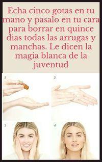 Echa cinco gotas en tu mano y pasalo en tu cara para borrar en quince dias todas las arrugas y manchas. Le dicen la magia blanca de la juventud