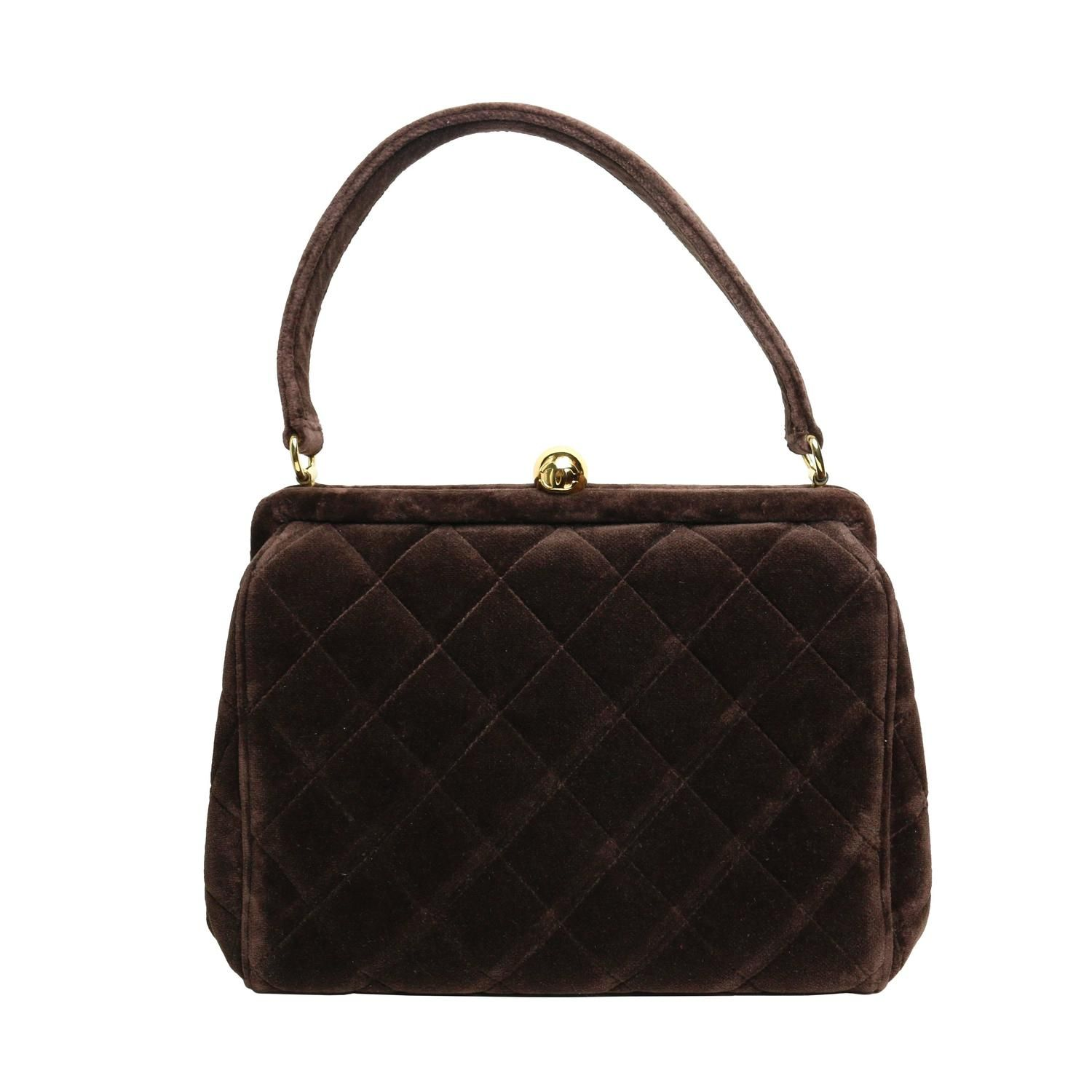 Chanel Brown Velvet Quilted Handbag | Velvet quilt, Vintage tops ... : quilted purses and handbags - Adamdwight.com