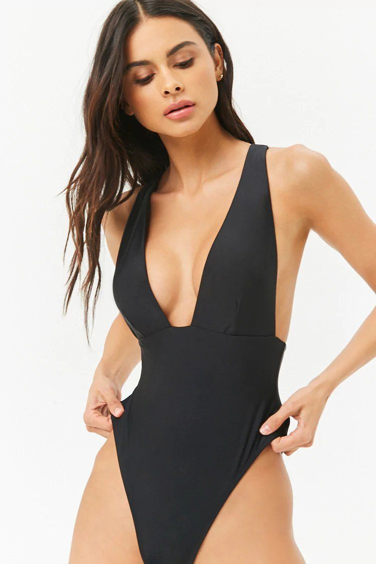 8883ccdbe6160 Product Name Plunging One-Piece Swimsuit