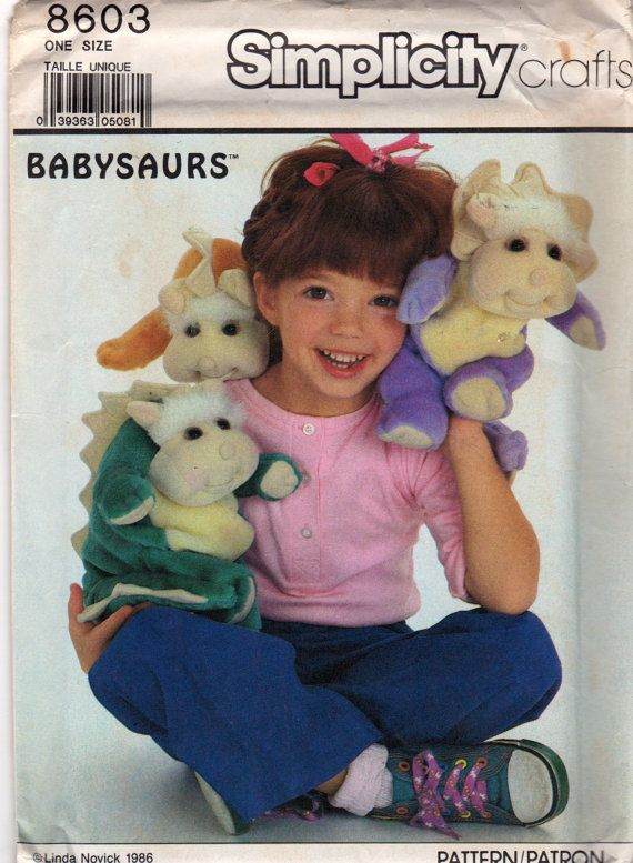 Simplicity 8603 1980s 10 and 11 Inch BABYSAURS Dinosaur Pattern ...