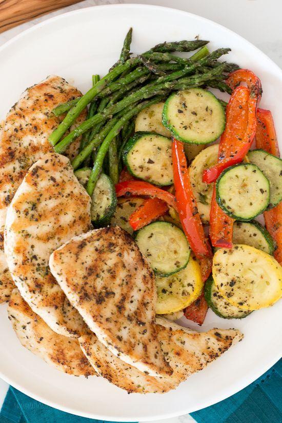 Grilled Garlic and Herb Chicken and Veggies #grilledchickenparmesan