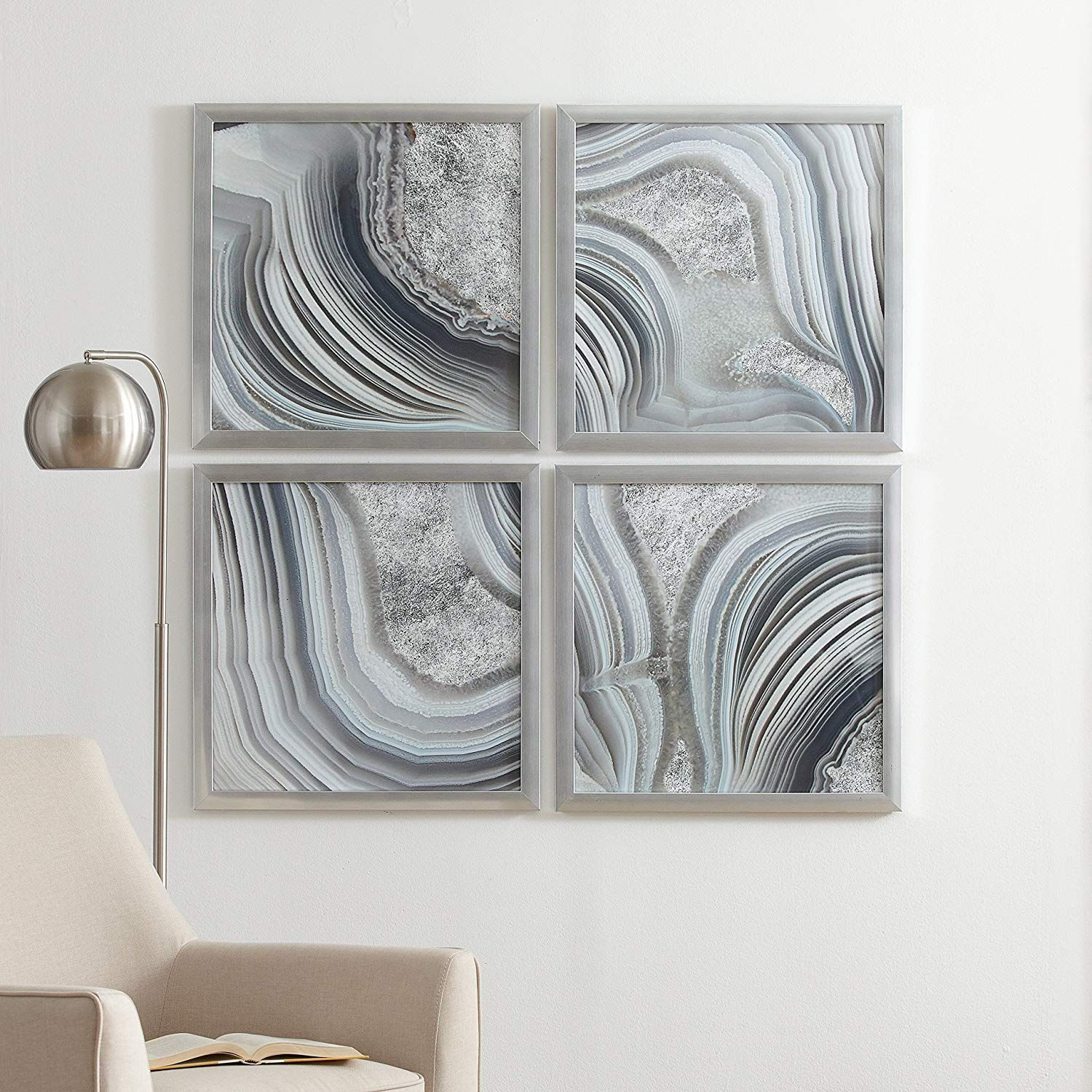4 Silver Geodes Prints Wall Art Decor In Silver Frames 22 X 22 Each 44 X 44 Overall Wall Art Prints Silver Frames Prints