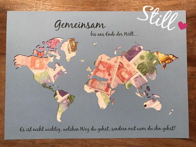 Geldgeschenk Weltkarte Gemeinsam Wichtig Etsy Geldgeschenk Weltkarte Hochzeit Geschenk Geld Geldgeschenke Hochzeit Basteln