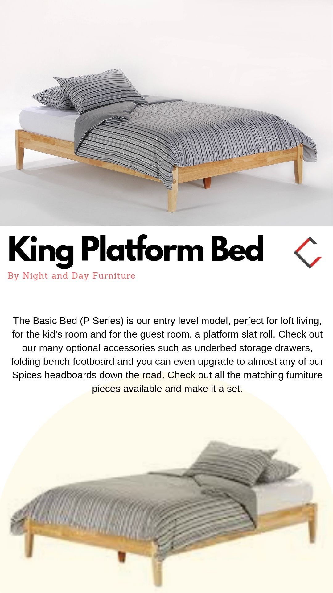 Night And Day Furniture P Series Natural Basic King Platform Bed