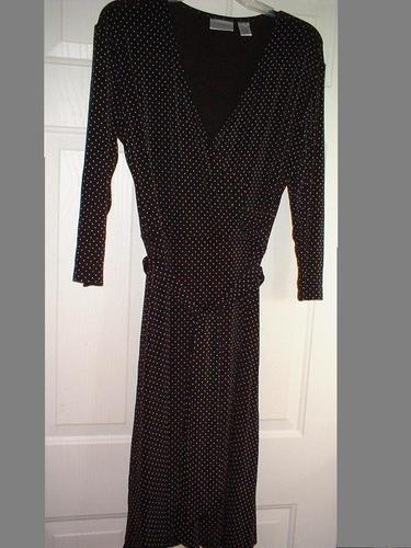 Chicos Chico's Travelers Faux Wrap Dress 2 Brown White Polka Dots 3/4S Belt EUC
