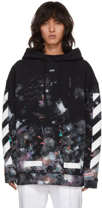 d359b394526 Off-White SSENSE Exclusive Black Brushed Diagonal Arrows Galaxy Hoodie