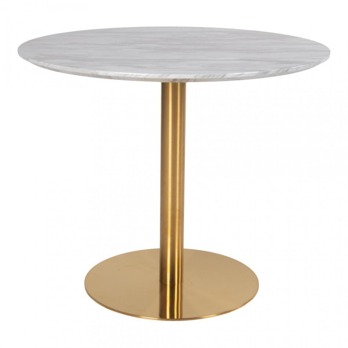 Table Salle à Manger Marbre: Table à Manger Ronde En Acier Imitation Marbre COUCI En