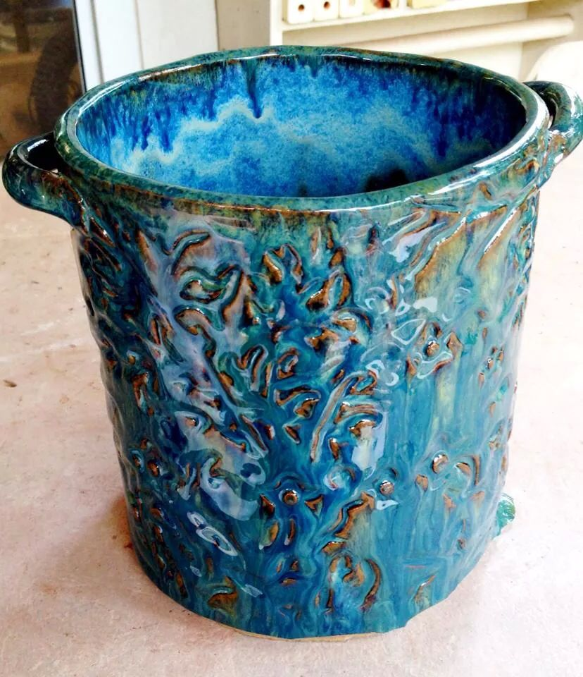 Signed Handcrafted Blue /& Teal Drip Run Glaze Design