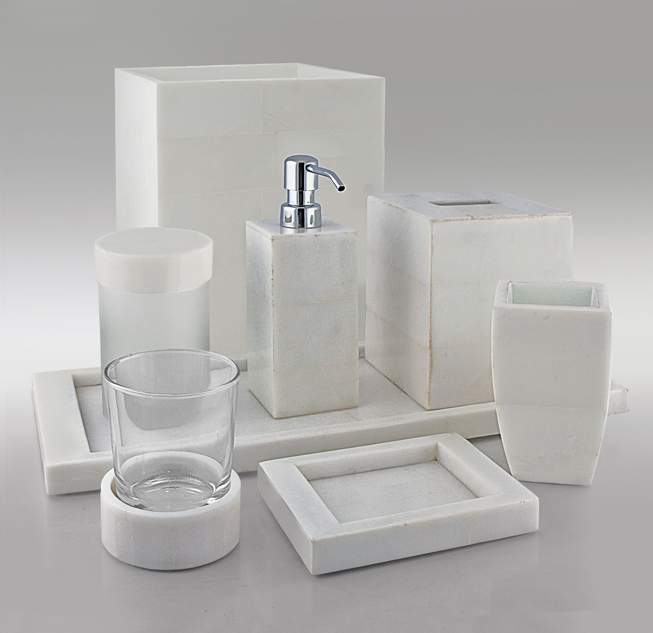 Mercury glass bathroom accessories - White Stone Bath Accessories By Gail Deloach