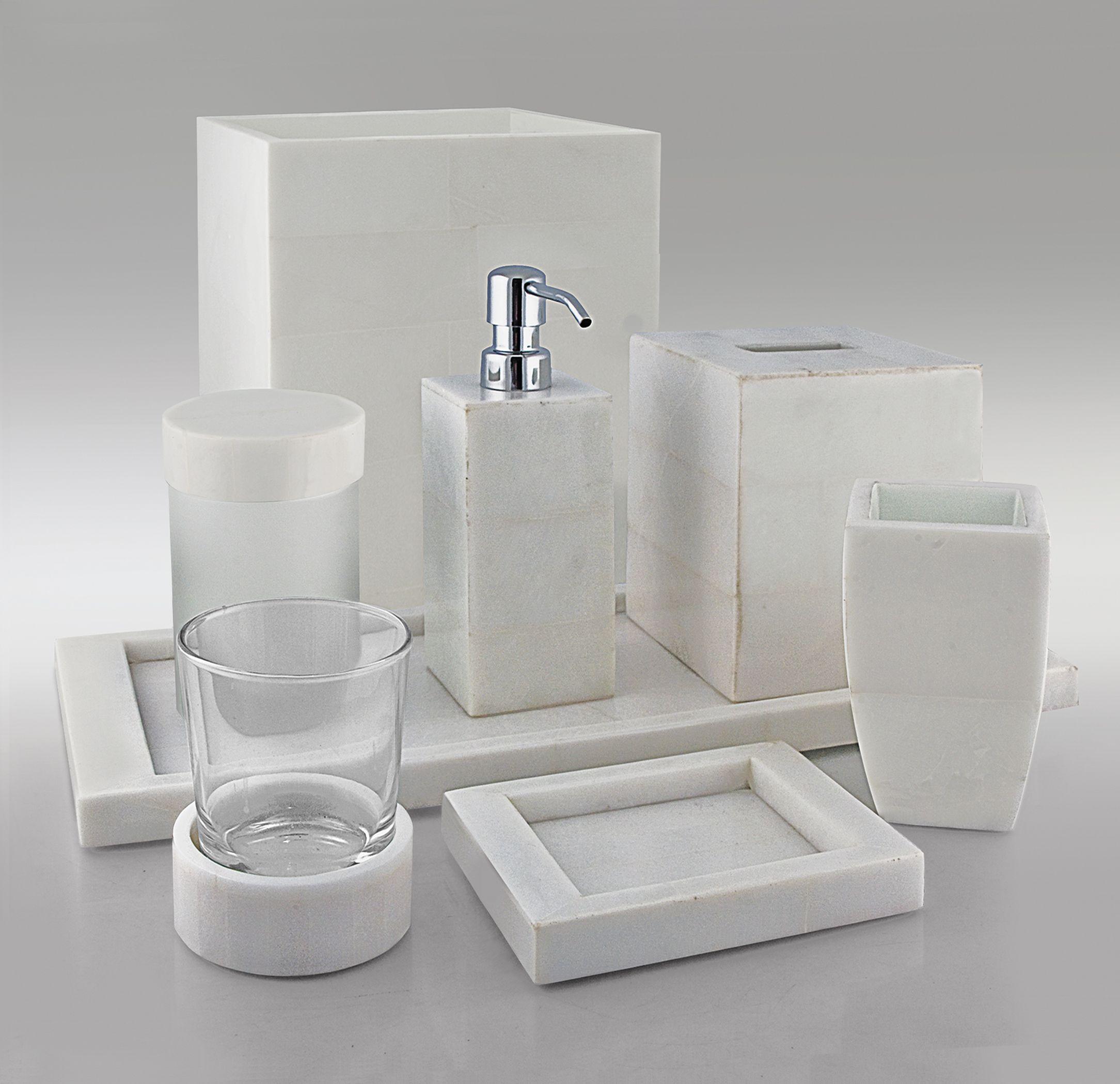 White Stone Bath Accessories By Gail Deloach Bathroom