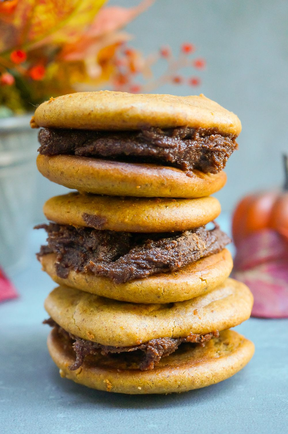 Pumpkin Pie Cookie Sandwiches with Chocolate Cinnamon Filling (Gluten Free, Vegan, Paleo, Refined Sugar Free) | Sprouted Routes