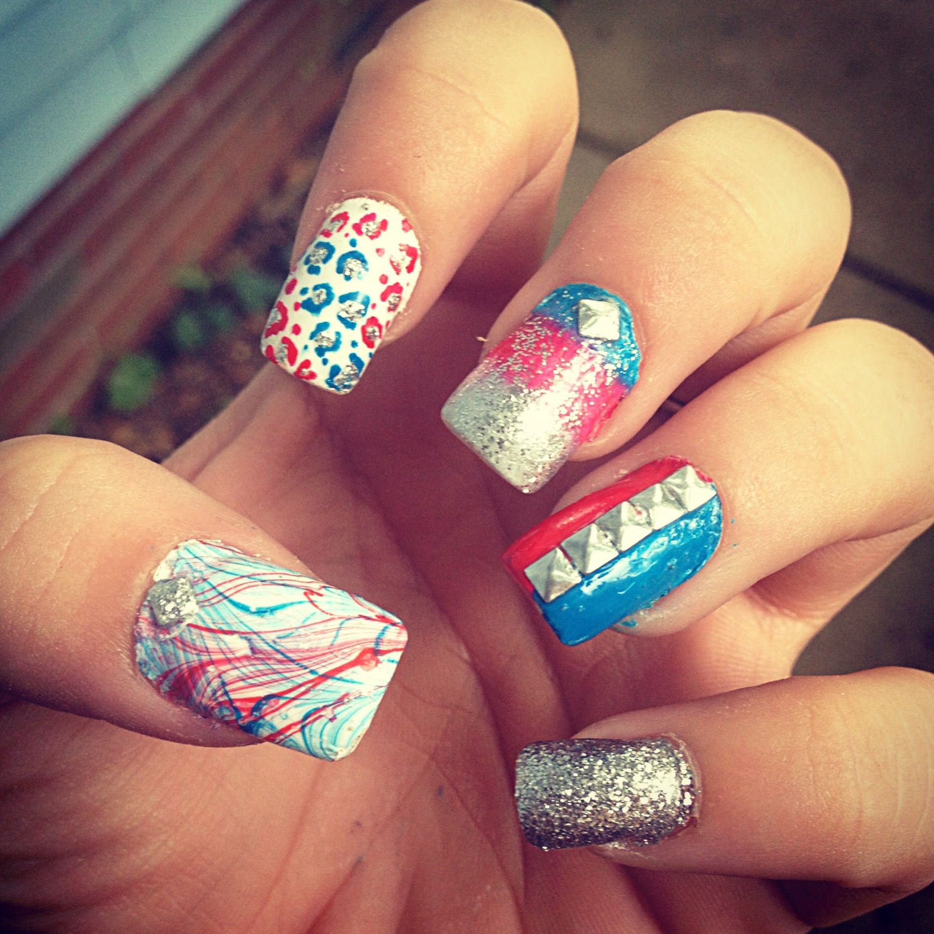 forth of july nails :) red white & blue , cheetah prints, ombre