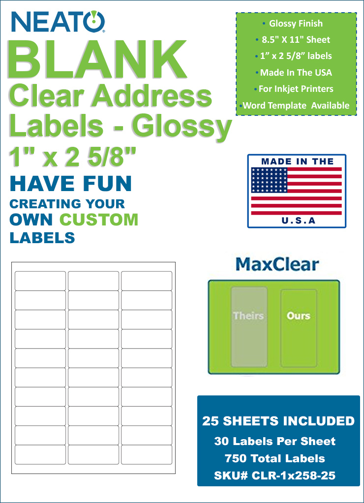 Neato Clear Address Labels 1 X 2 5 8 750 Labels Glossy With Regard To 1 X 2 5 8 Label Template