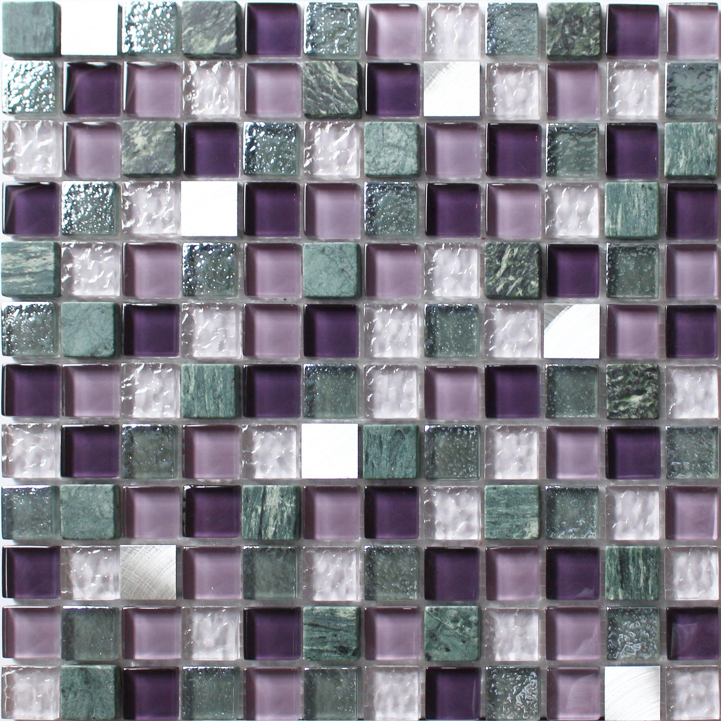 Camden Purple Stone Effect Glass Marble Mosaic Tile L 300mm W