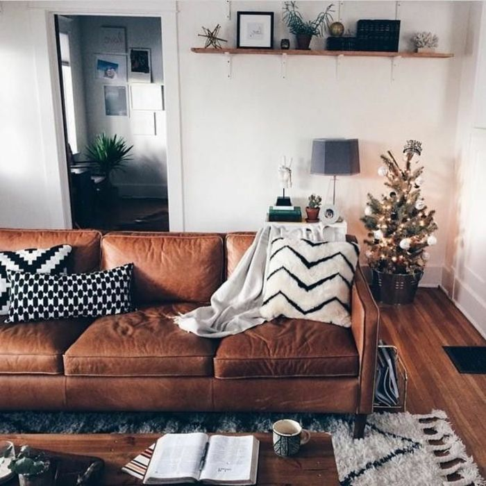 cuir marron tapis beige parquet