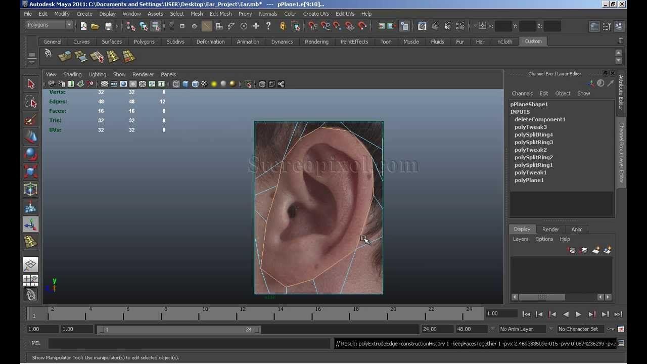 Human Ear modeling in Autodesk Maya Chapter-1 | 3d | Maya, Model