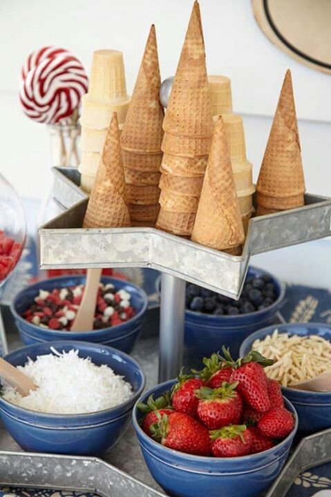 Ice Cream Bar, offer guests a variety of toppings and ice cream cone choices.