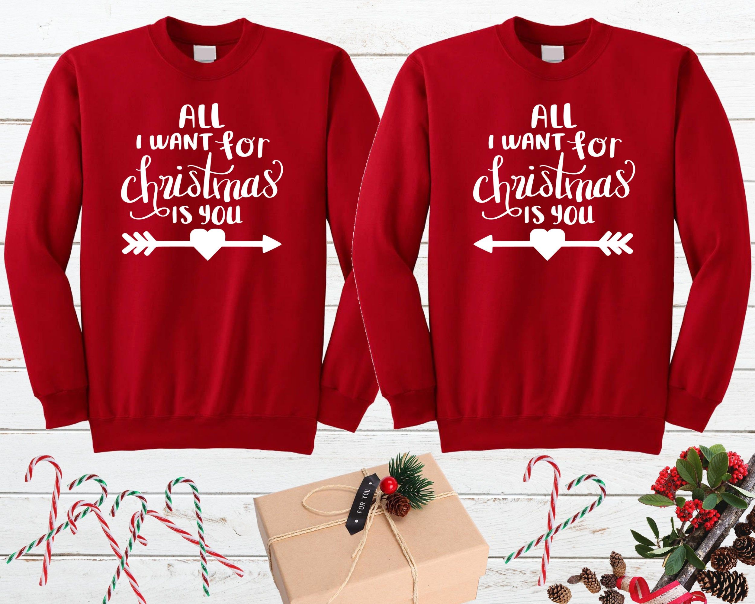 All I Want For Christmas Is You Couple Christmas Sweater Matching Couple Christmas Sweater Couple Holiday Sweater Newlywed Christmas Gift In 2020 Couples Christmas Sweaters Matching Family Christmas Pajamas Christmas Sweaters