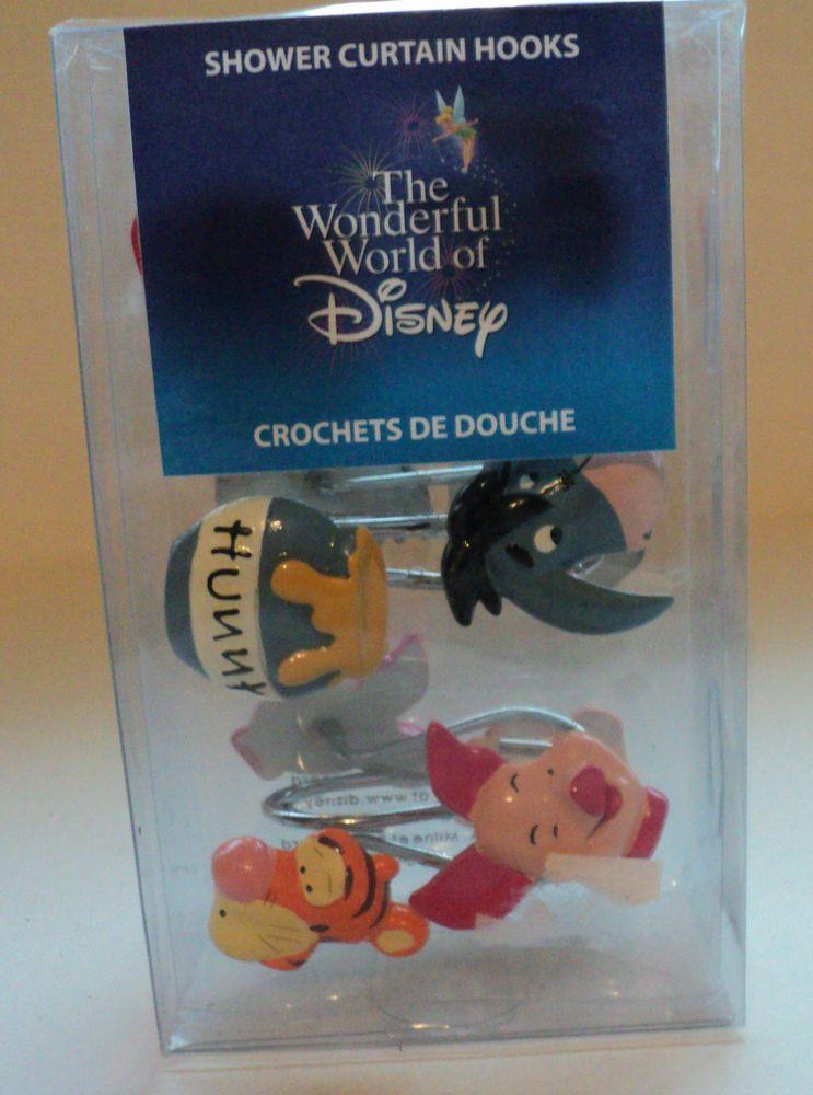 Disney Winnie The Pooh Shower Curtain Hooks NEW Set Of 12 Piglet Eeyore Etc