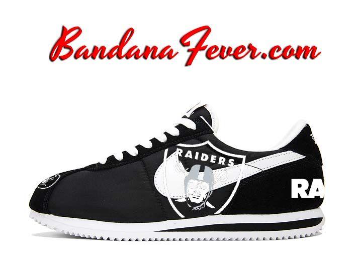 21c6f0b5e5da Custom Raiders Nike Cortez Nylon Black White