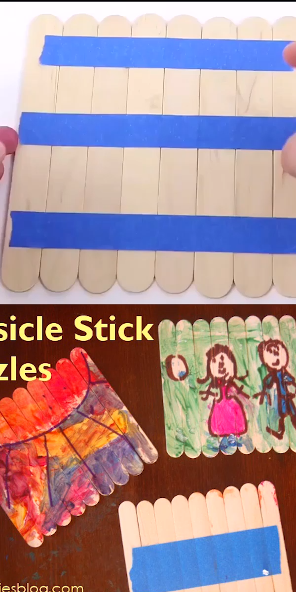This is one of my favorite activities for kids!  It can be adapted for almost any age and any topic/setting.  Simply creating art on craft sticks that is transformed into a puzzle you can put in your pocket.  #crafts #kidsactivities #puzzles