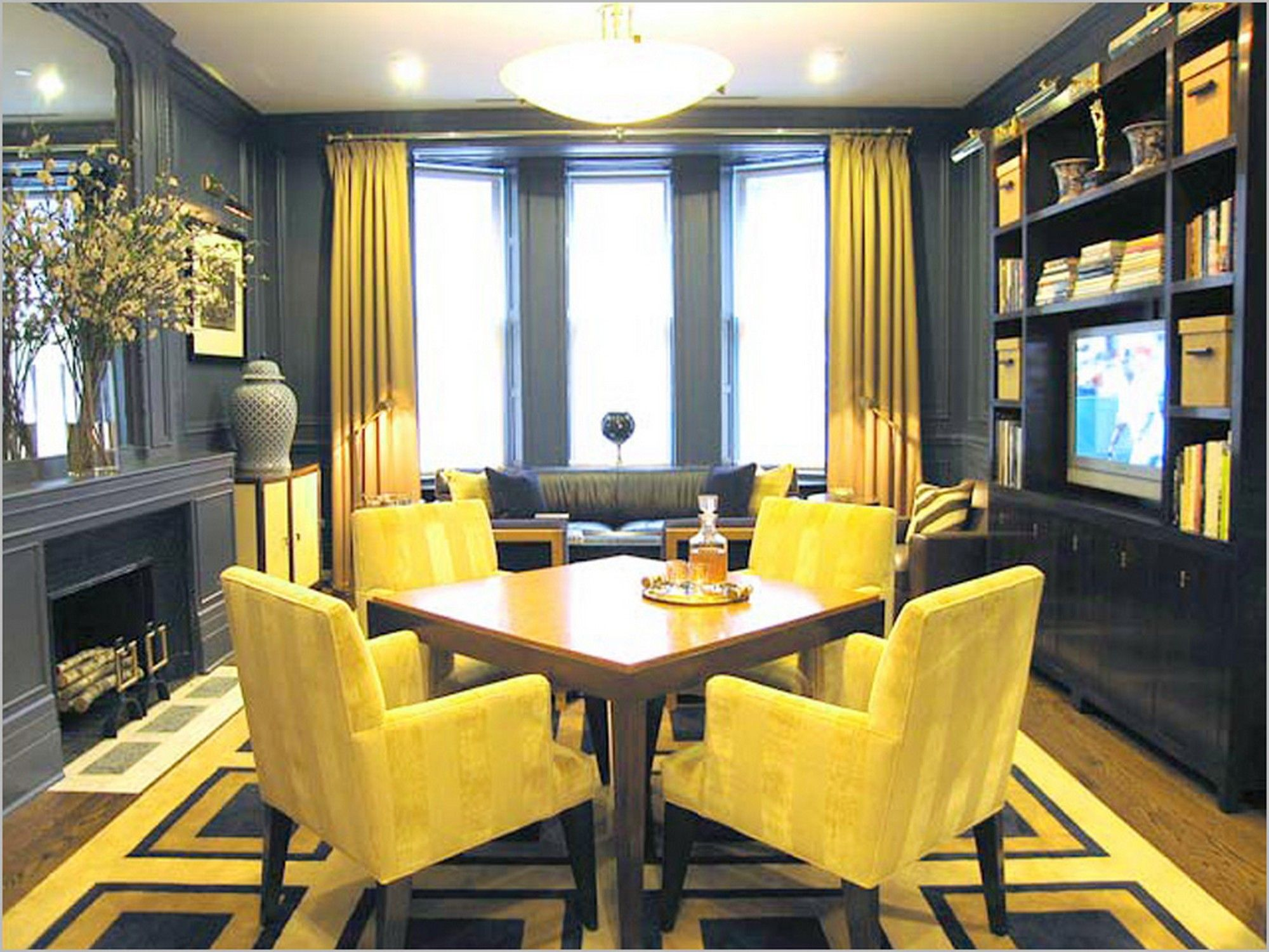 bright yellow dining space design with yellow dining chairs and
