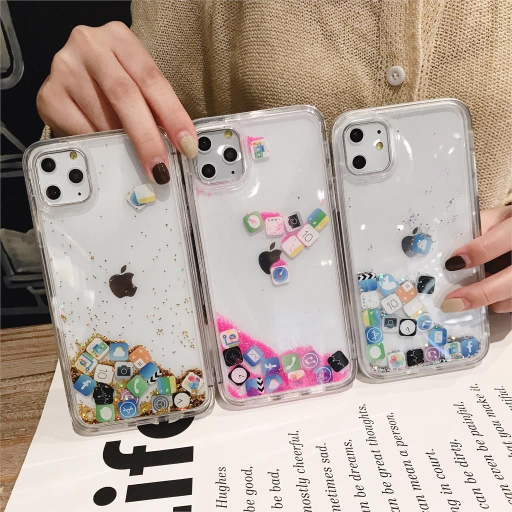App Icon Glitter Dynamic Quicksand Silicone Case For