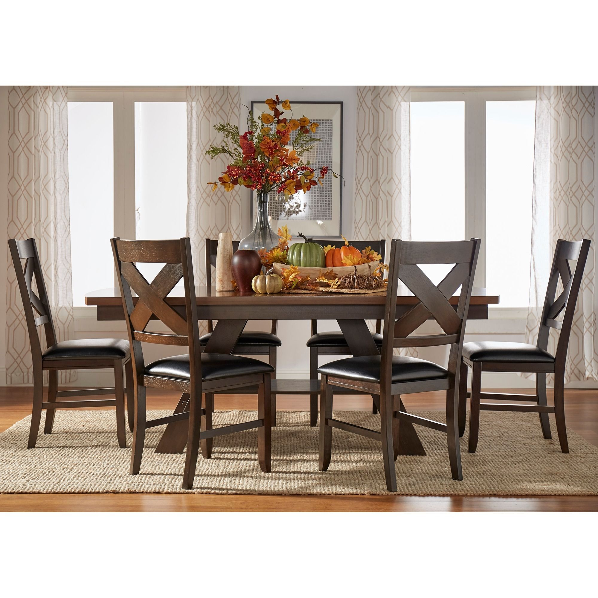 990 Acadia Dark Brown With Uv Coated Light Table Top 7 Piece Dining Set