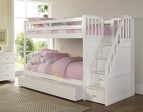 Stair Bunk Bed With Storage Trundle Sleeps 3 Bunk Bed With