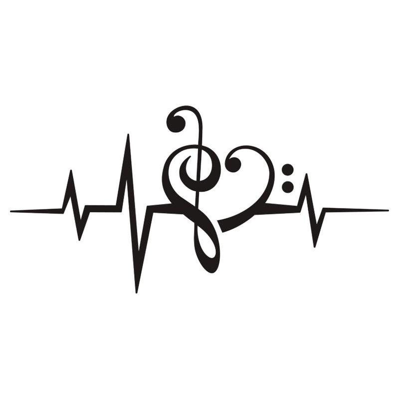 MUSIC HEART PULSE, Love, Music, Bass Clef, Treble Clef