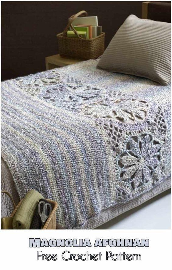 Magnolia Afghan [Free Crochet Pattern | Häkeldecke, Weben und Häkeln